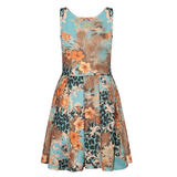 SIZE 10 ONLY Blue Floral Animal Print Skater Dress